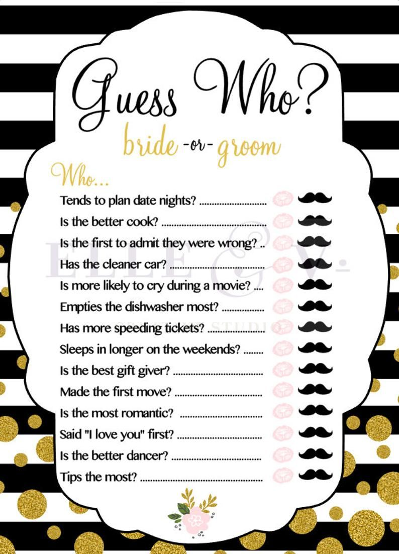 Guess Who - Bride or Groom? Bridal Shower Game
