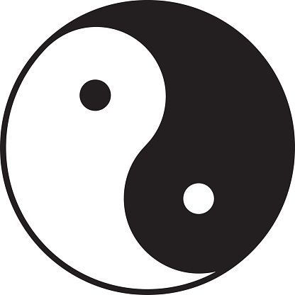 Yin And Yang Symbol In Bw Chinese Taoist Symbol Vector Art