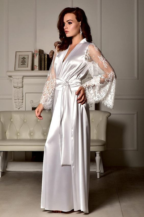 91990f318 🌹 Dreamy White Satin Robe