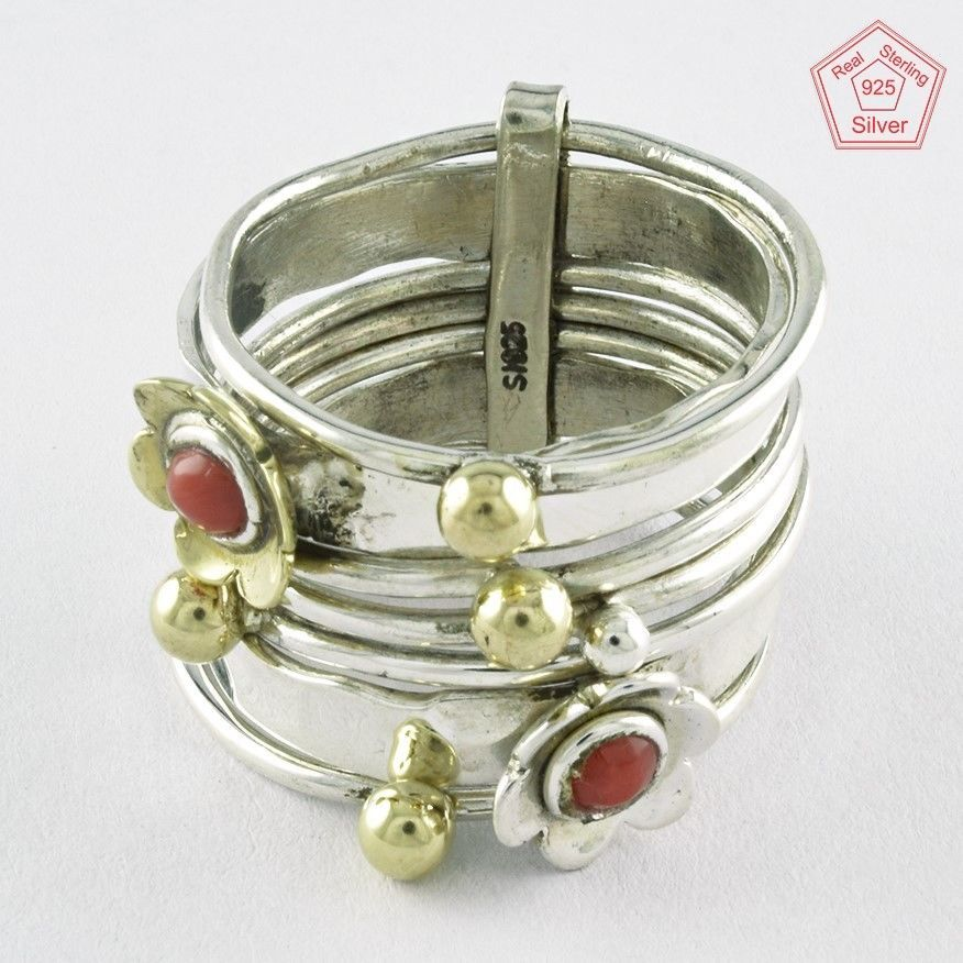 Sz. 8.5 US CORAL STONE FLOWERISH STACKABLE 925 STERLING SILVER RING #SilvexImagesIndiaPvtLtd #Stackable #AllOccasions