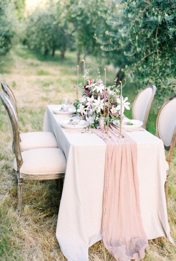 Cheesecloth Cotton Gauze Wedding table runner Rustic table ...