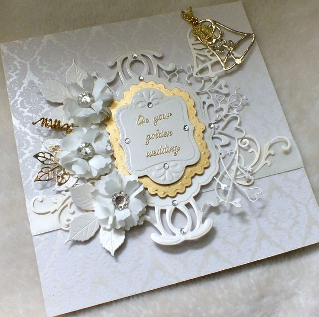 Luxury Handmade Golden Wedding Anniversary Card Golden Wedding Anniversary Card 50th Anniversary Cards Anniversary Cards For Husband