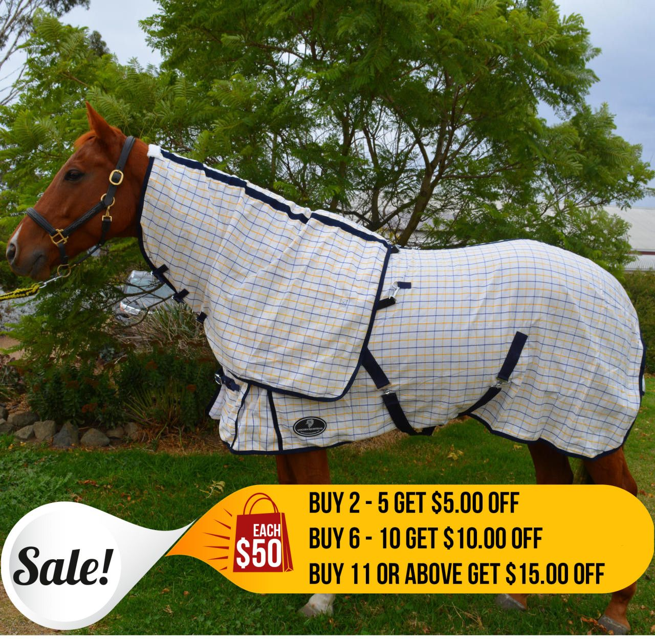 Desire Cotton Ripstop Yellow Blue Check Detachable Neck Show Horse Rug Unicorn Is A 300gsm Poly Material Making It Strong But