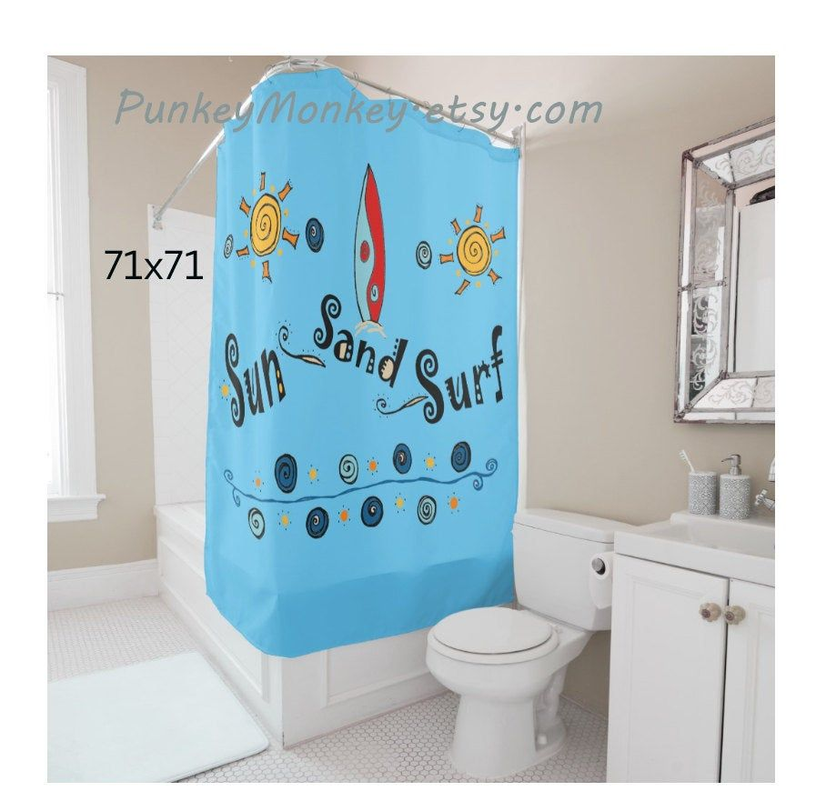 Surfboard Shower Curtain Surf Bathroom Beach Bathroom