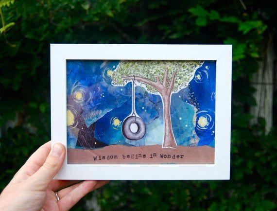Children's Art - Tree Tire Swing Wonder Giclee - Outdoor Nature Night Sky Backyard Adventure Mixed Media Print - Nursery Playroom, Kids Room #tireswing