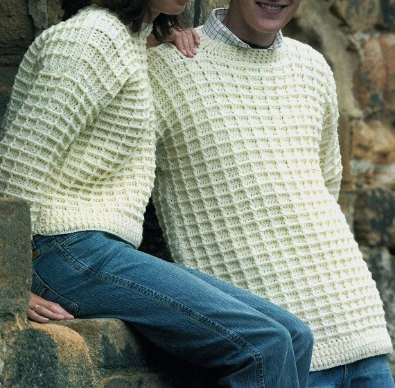His Hers Aran Sweater Waffle Stitch Crochet By Krohshayandsuch D
