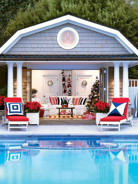 Pool Houses This Nautical Pool House In Tiburon California Gets A Holiday With Images Backyard Pool Outdoor Rooms Pool House