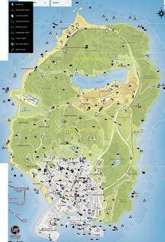 Game Map: Grand Theft Auto V - Atlas View | bet | Gta v