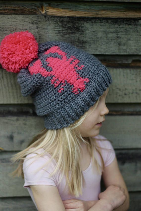 Lobster Hat, Crochet Hat, Bright Colored Hat, Slouchy Hat With ...