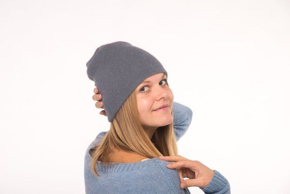 150312b9355 Gray angora knit hat
