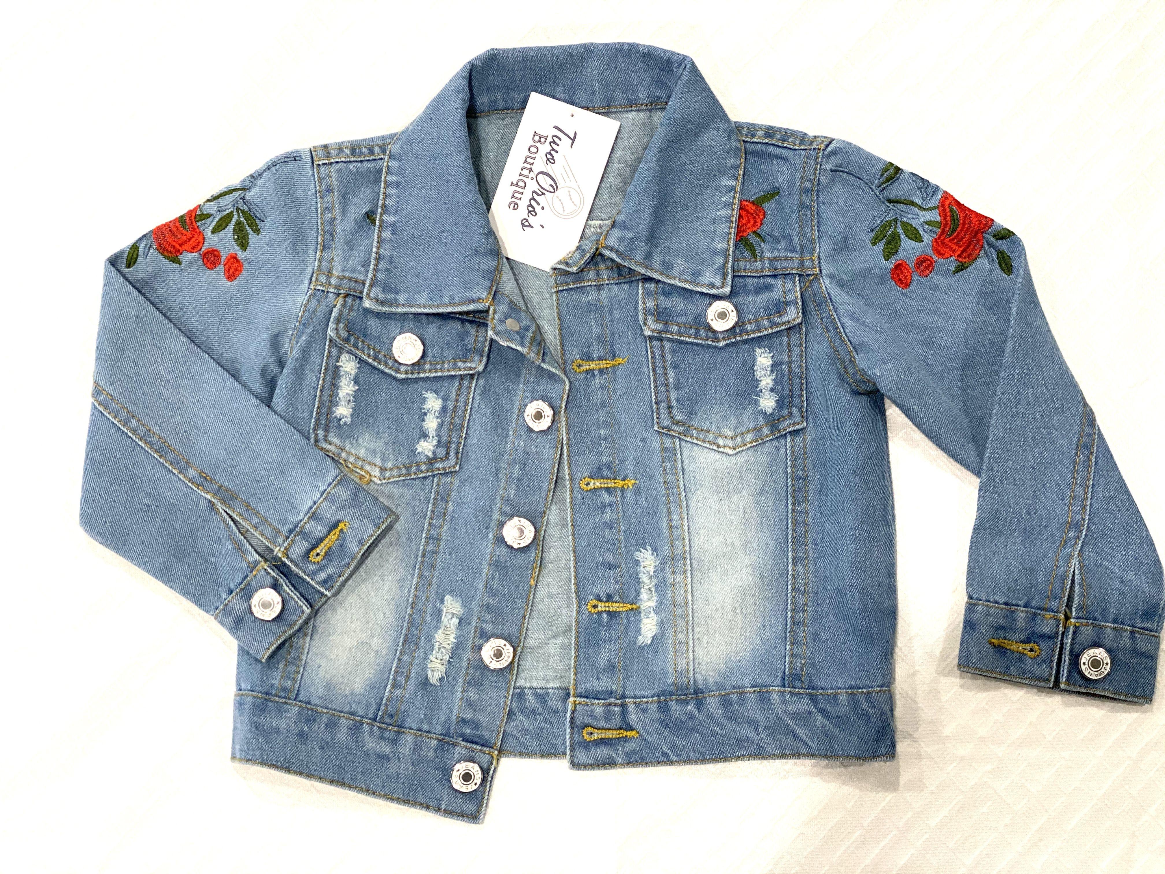 Ella Rose Jean Jacket Jean Jacket For Girls Rose Embroidered Jeans Embroidered Jean Jacket [ 3024 x 4032 Pixel ]