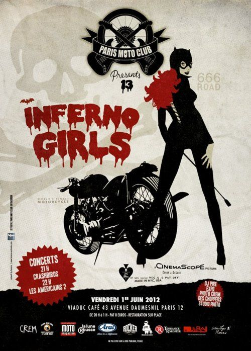 INFERNO GIRLS poster for the PARIS MOTO CLUB www.motorbikingclub.com