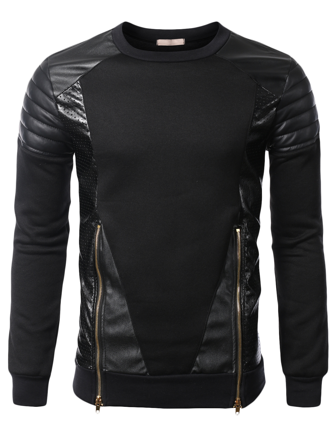 a00b6ae51731 SMITHJAY Mens Hip-Hop Leather Padding Power Shoulder Sweatshirt w  Zipper  Trim  smithjay