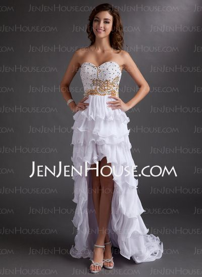 Prom Dresses - $150.99 - A-Line/Princess Sweetheart Asymmetrical Chiffon Prom Dress With Beading (018016758) http://jenjenhouse.com/A-Line-Princess-Sweetheart-Asymmetrical-Chiffon-Prom-Dress-With-Beading-018016758-g16758