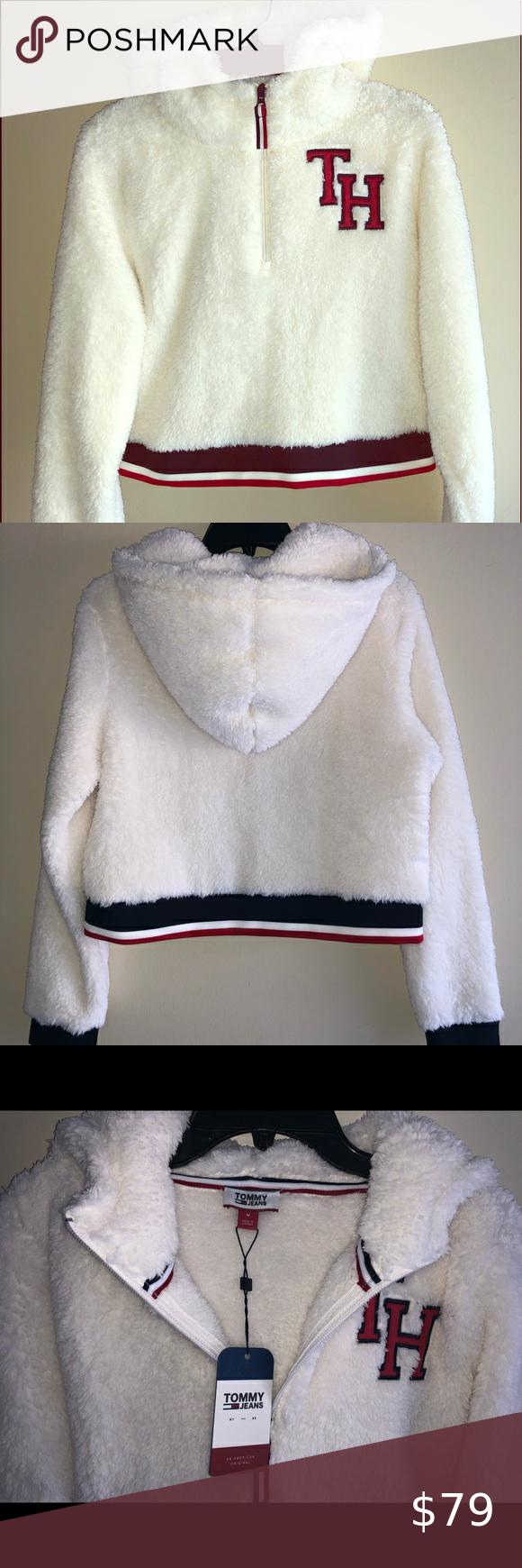 Tommy Hilfiger Faux Fur Hoodie M white in 2020 Faux fur