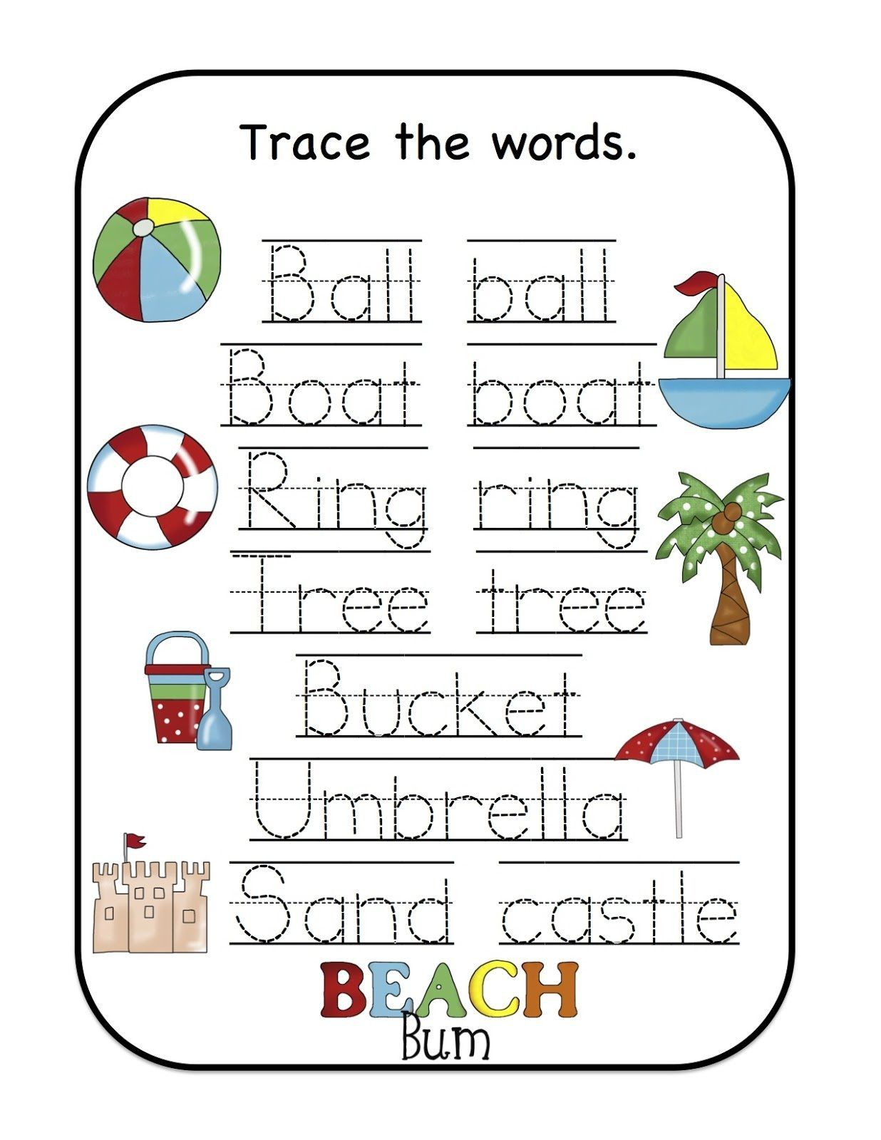 5 Name Trace Worksheets For Kids In