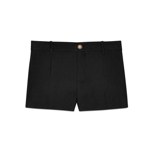 Gucci Silk Wool Short ($890) ❤ liked on Polyvore featuring shorts, black, wool shorts, gucci, gucci shorts, silk shorts and short shorts