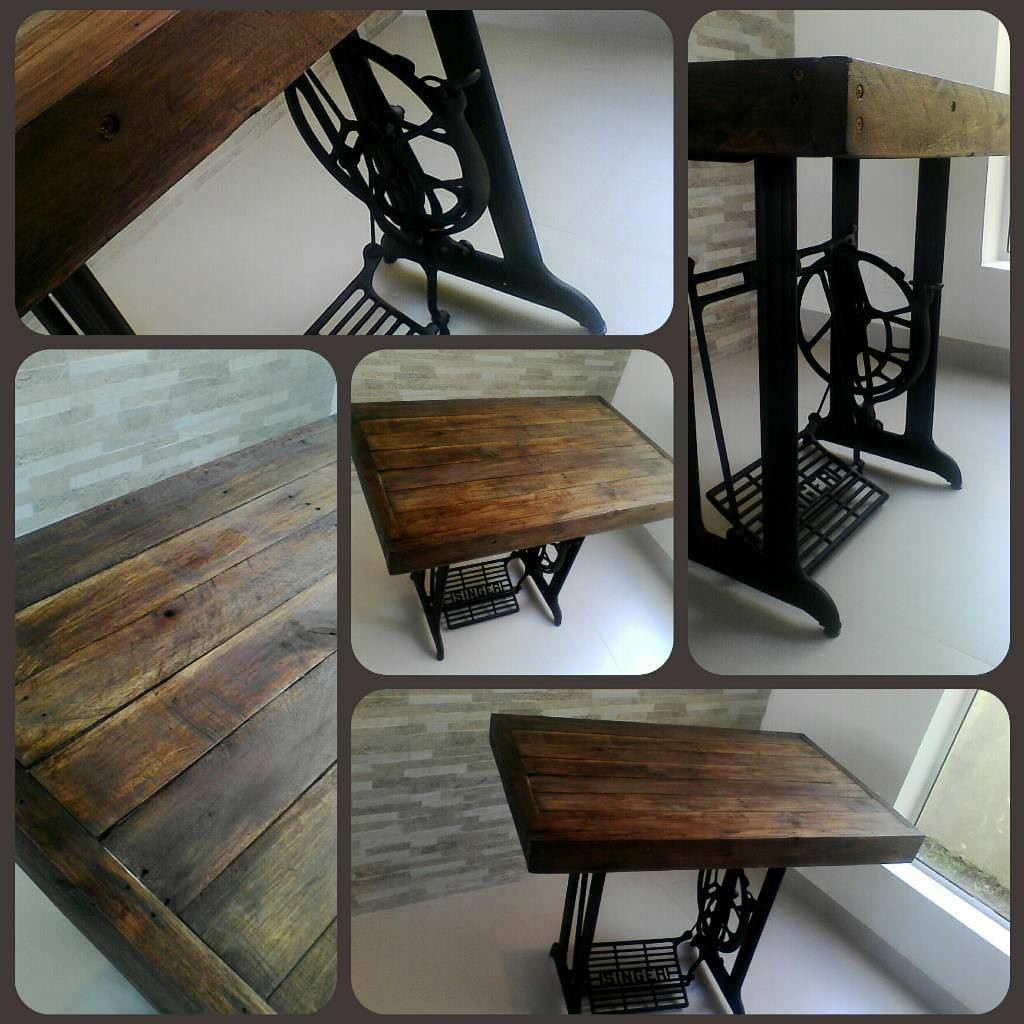 Vintage Table Made Out Of An Old Sewing Machine & Recycled