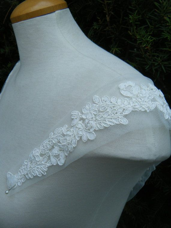 Straps cap sleeves Ivory Lace on tulle Haley by icoutureicouture