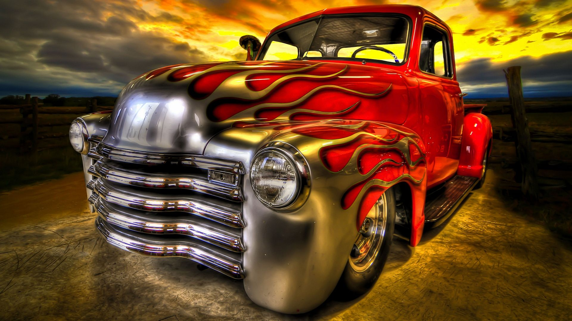 Flamed Chevy Truck Desktop Wallpaper 1920x1080 Old Trucks Truck Wallpapers Classic Trucks