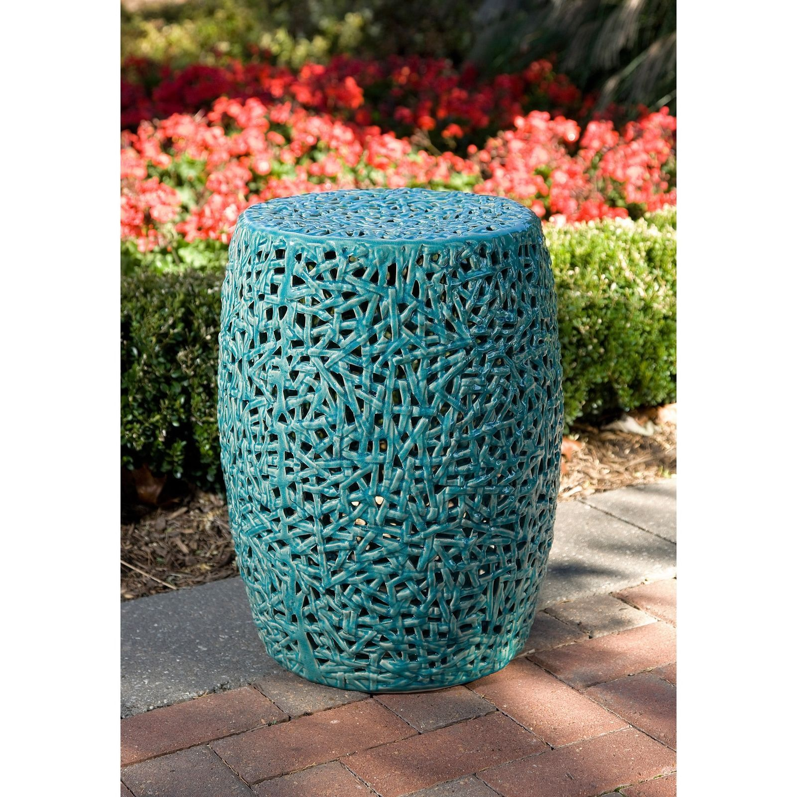 Turquoise Ceramic Garden Stool Patio Side Table Decor Accent Outdoor Furniture Benches Stools Ceramic Garden Stools Garden Stool Outdoor