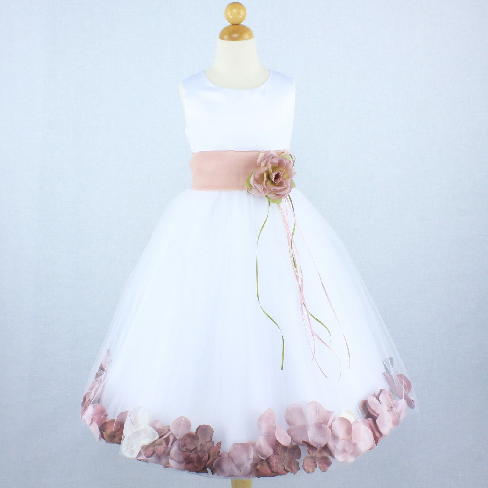 Details About Ivory Dusty Rose Flower Girl Dress Petals Formal