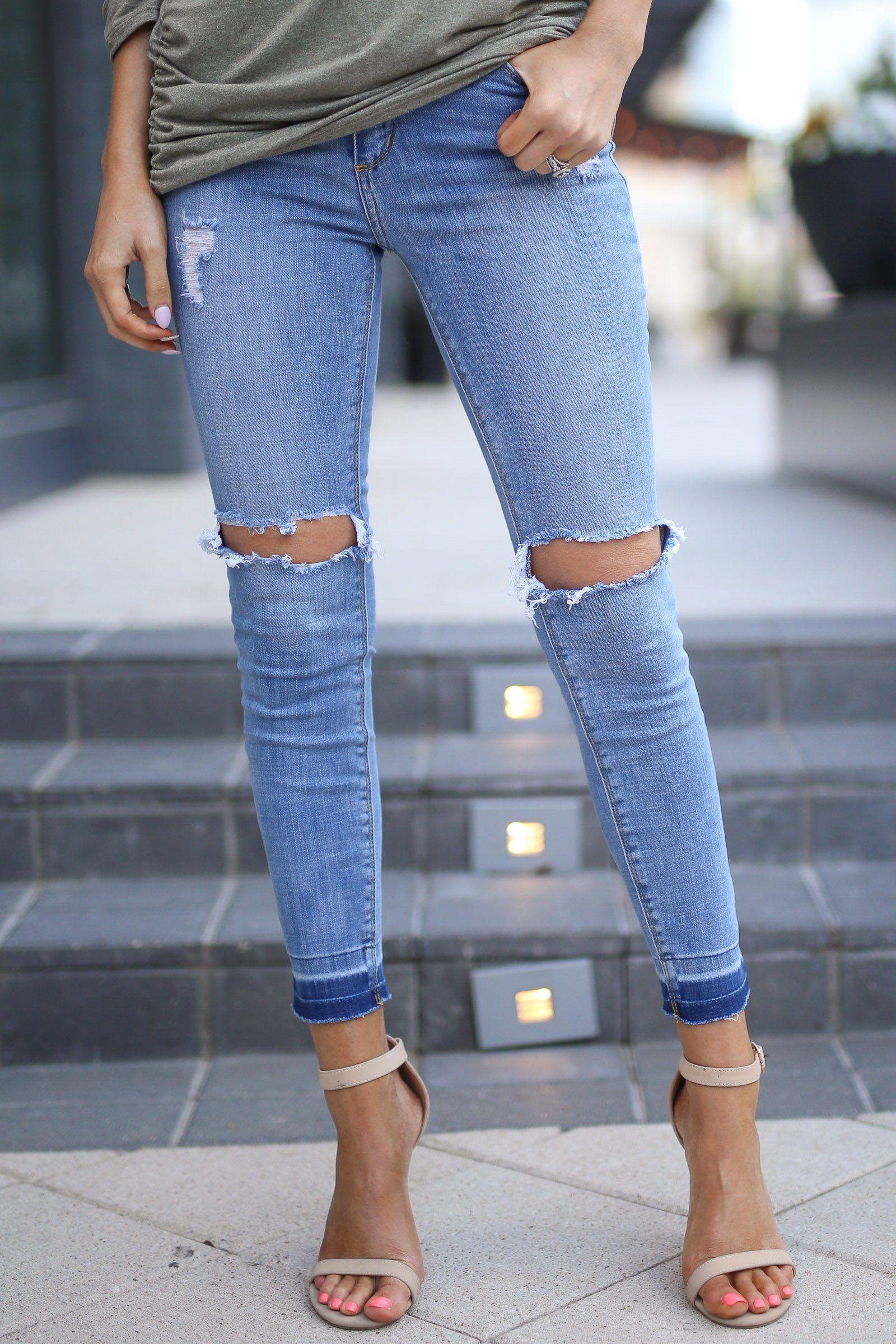 9e1e4de86403 CELLO Rip Tide Jeans - Light Wash distressed mid-rise jeans, front, Closet  Candy Boutique