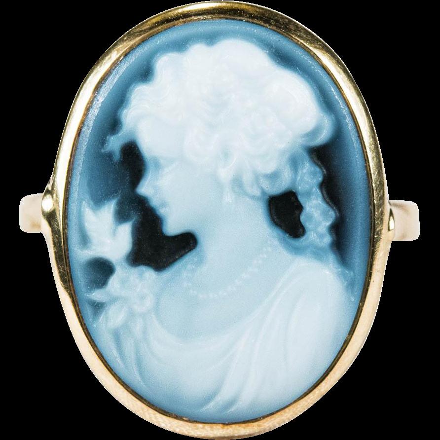 Sweet Blue Bird Girl Blue Agate Hard Stone Cameo Ring 585 14k Gold Blue Agate Cameo Ring Bird Girl