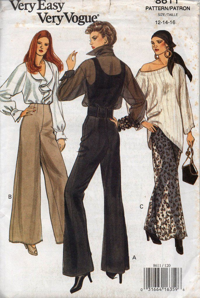 90s Vogue 8611 Wide Legged High Waisted Pants Palazzo Pants Pattern ...