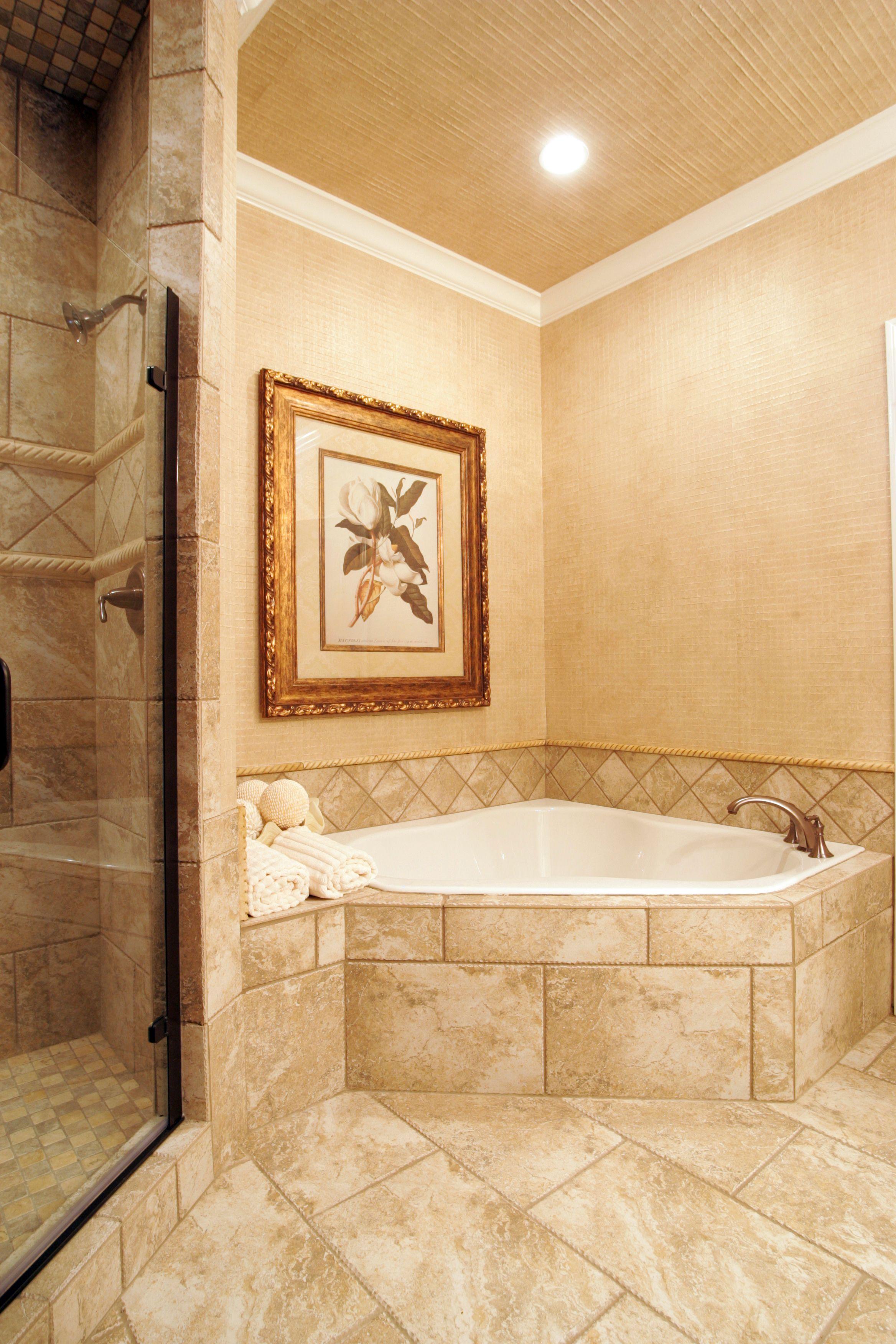 Corner soaking tub with tile surround bathrooms pinterest for Bathroom ideas with corner tub