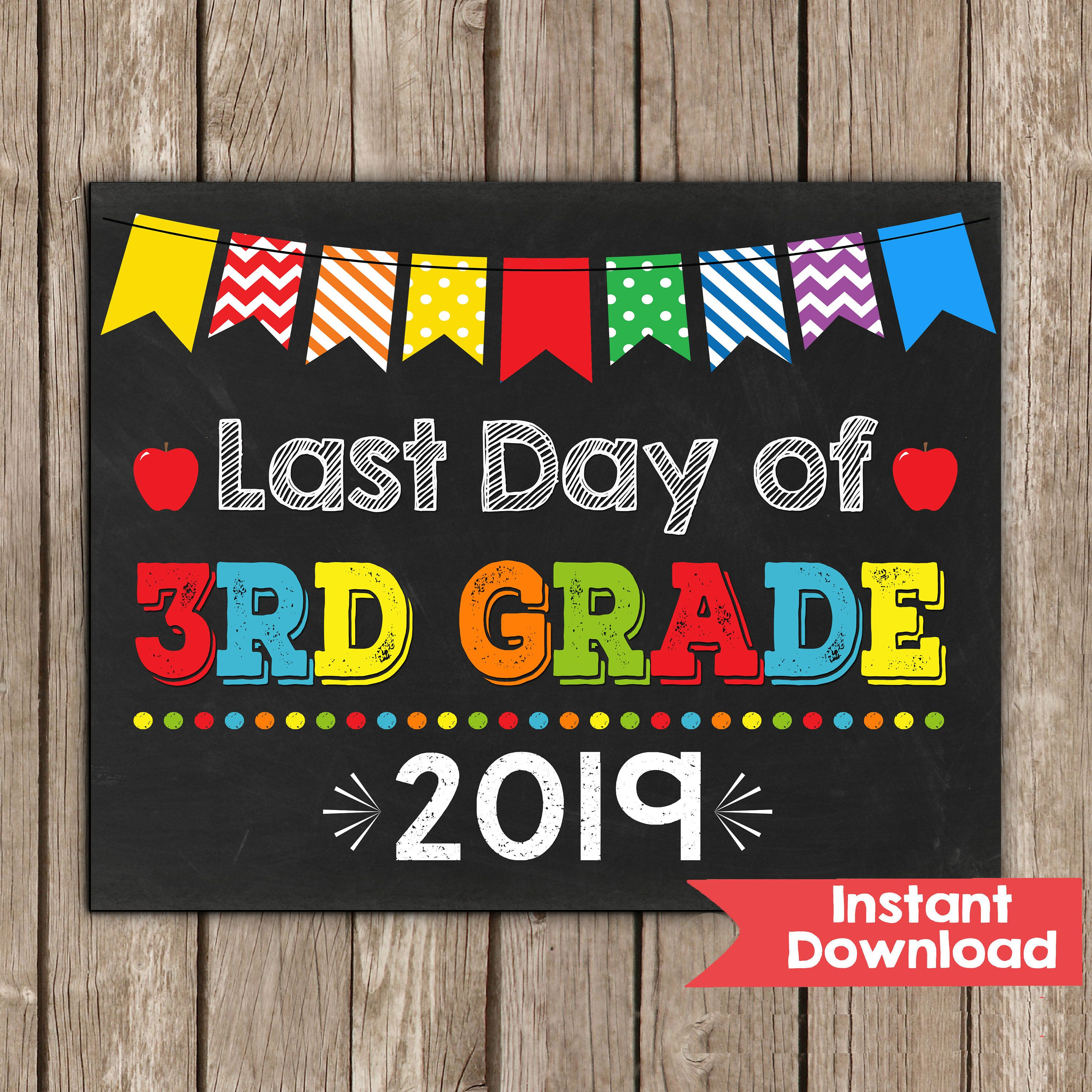 photo regarding First Day of 3rd Grade Sign Printable known as Closing Working day of 3rd Quality Signal 8x10 Immediate Obtain Picture Prop