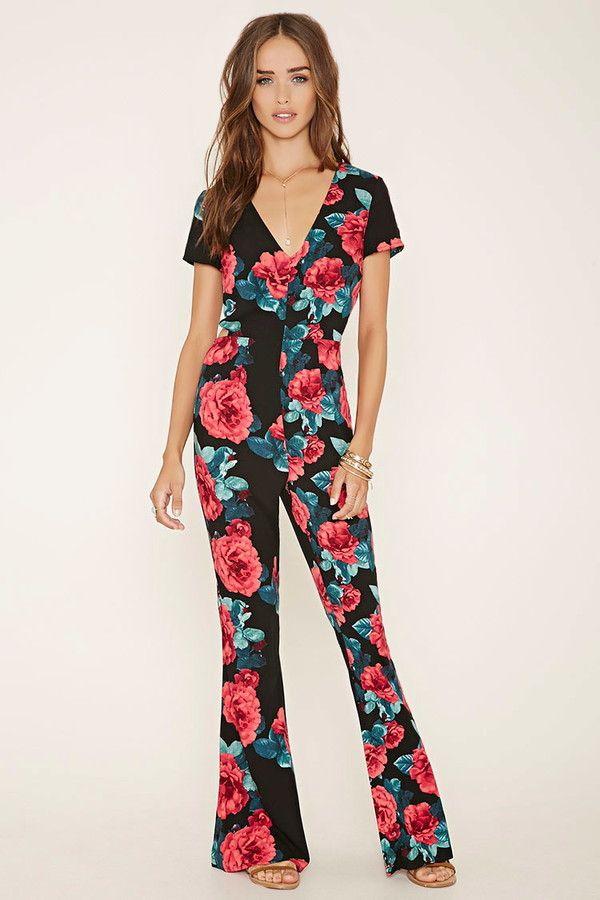 Forever 21 cutout-back floral jumpsuit