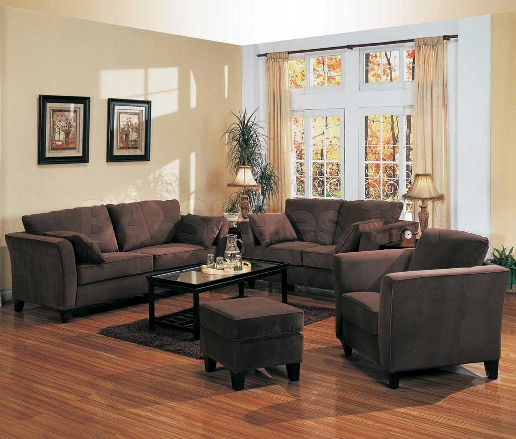 Awesome Brown Theme Paint Colors For Small Living Rooms With Dark Cream  Wall Paint Color With Brown Furniture Combine With Brown Laminate Flooring