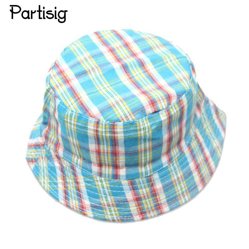 4614acf1699ca Partisig Brand 2017 Baby Summer Hats Children Plaid Sun Hat Fisherman Basin Cap  Kids Canvas Cap