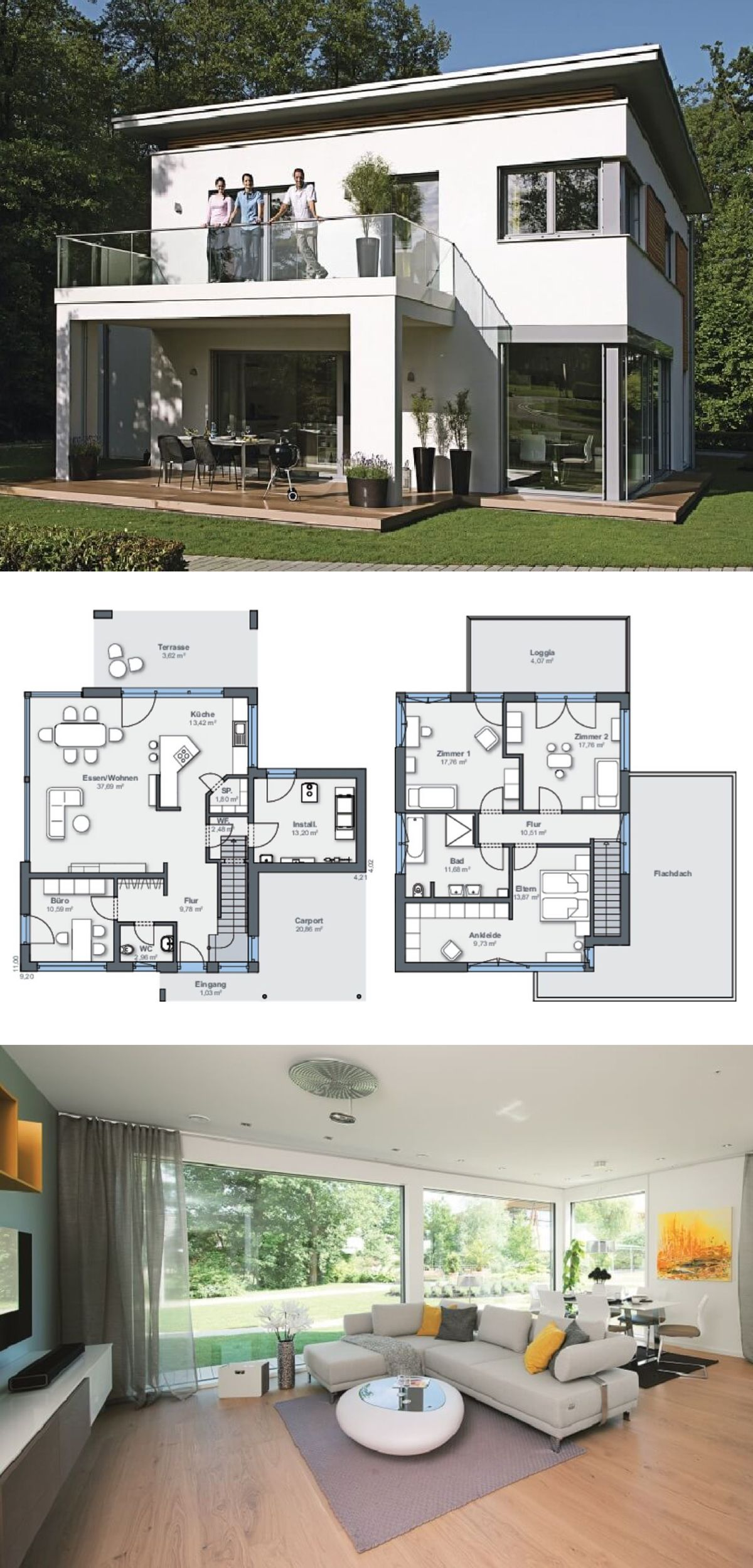 Bad design zeichnung einfamilienhausarchitektur modern mit flachdach und terrassen anbau