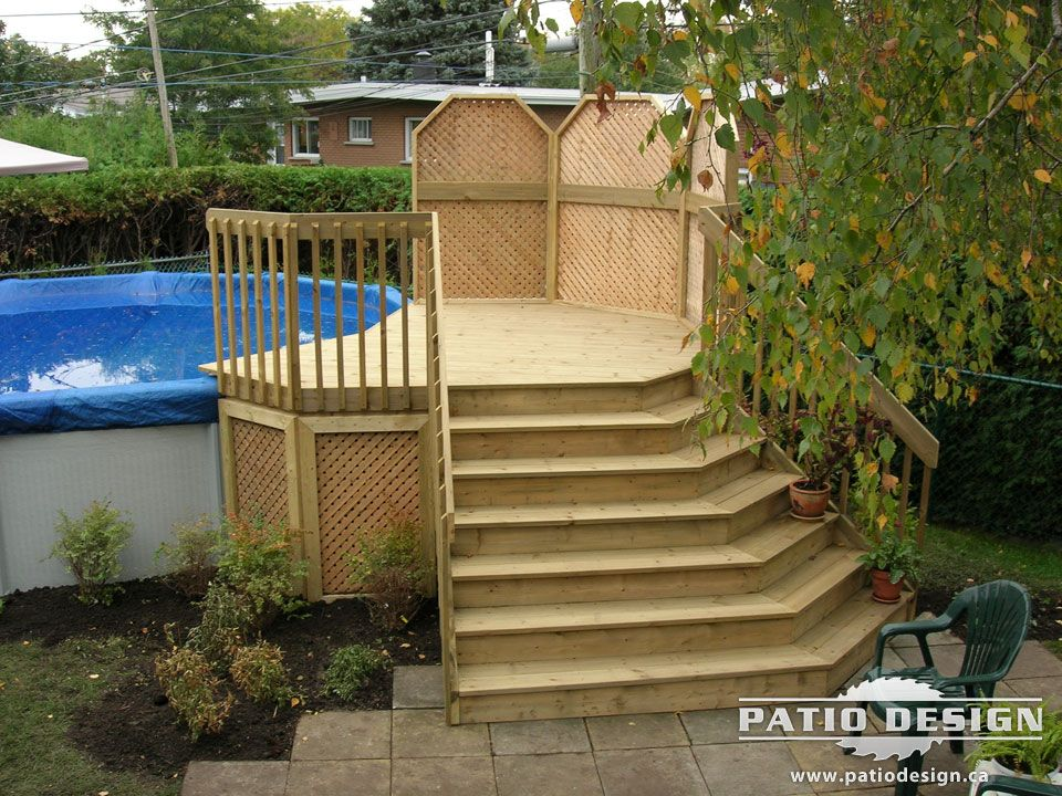 Patio design piscine hors terre recherche google deck for Construire deck piscine