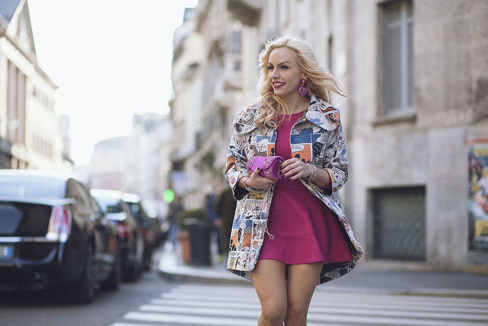 Giovanna Nicolai coat, pink skater dress, Sergio Levantesi high heels - today on my #fashionblog www.it-girl.it #fashion #look #style #milanfashionweek #fashionista #ootd #mfw
