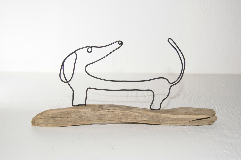 Wire art sculpture, dachshund driftwood sculpture. Whimsical wire ...