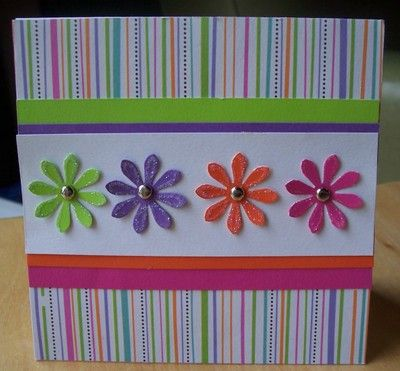 Spring Card Colorful Flowers Paper Cards Handmade Birthday