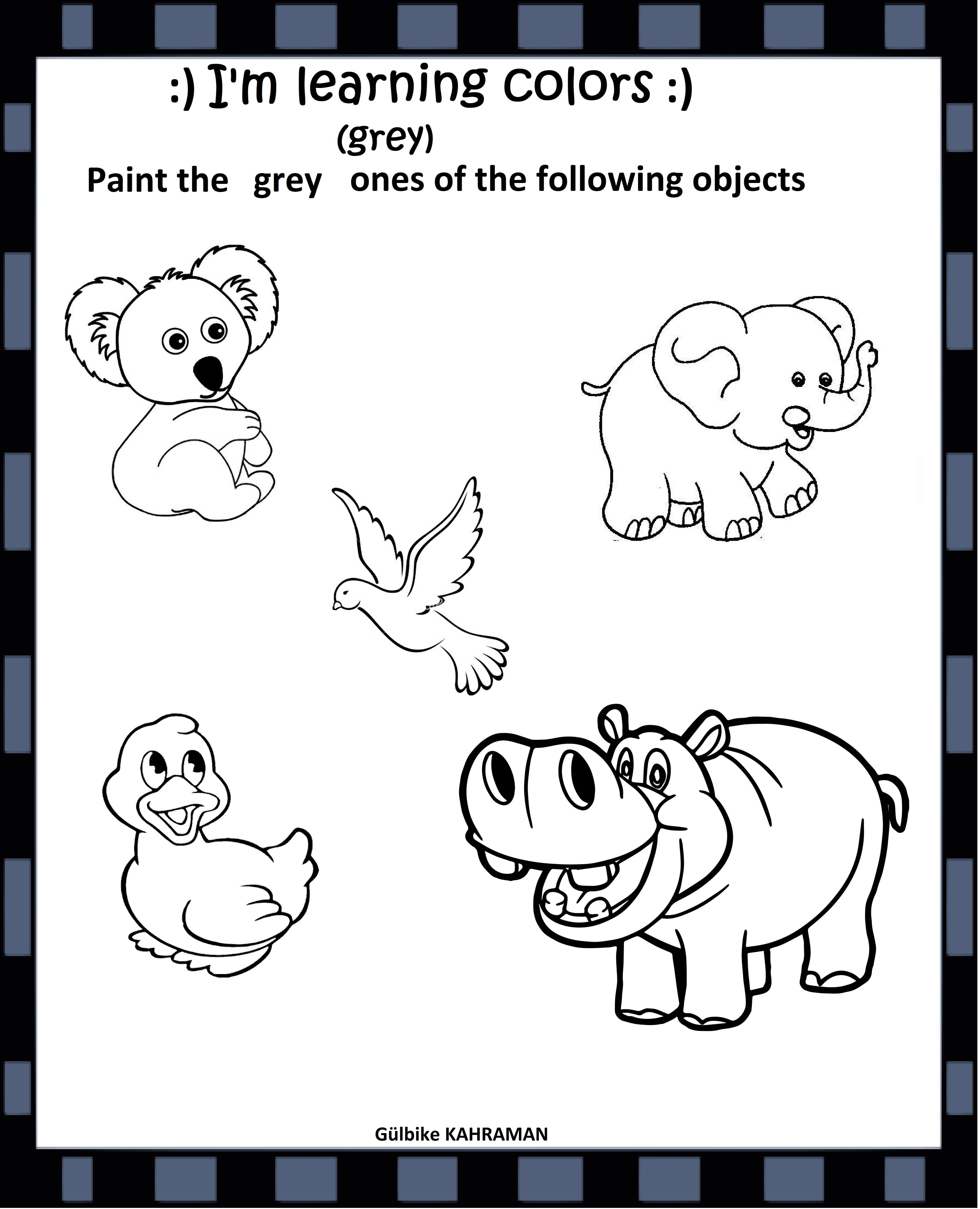 Kindergarten Worksheets Color Grey