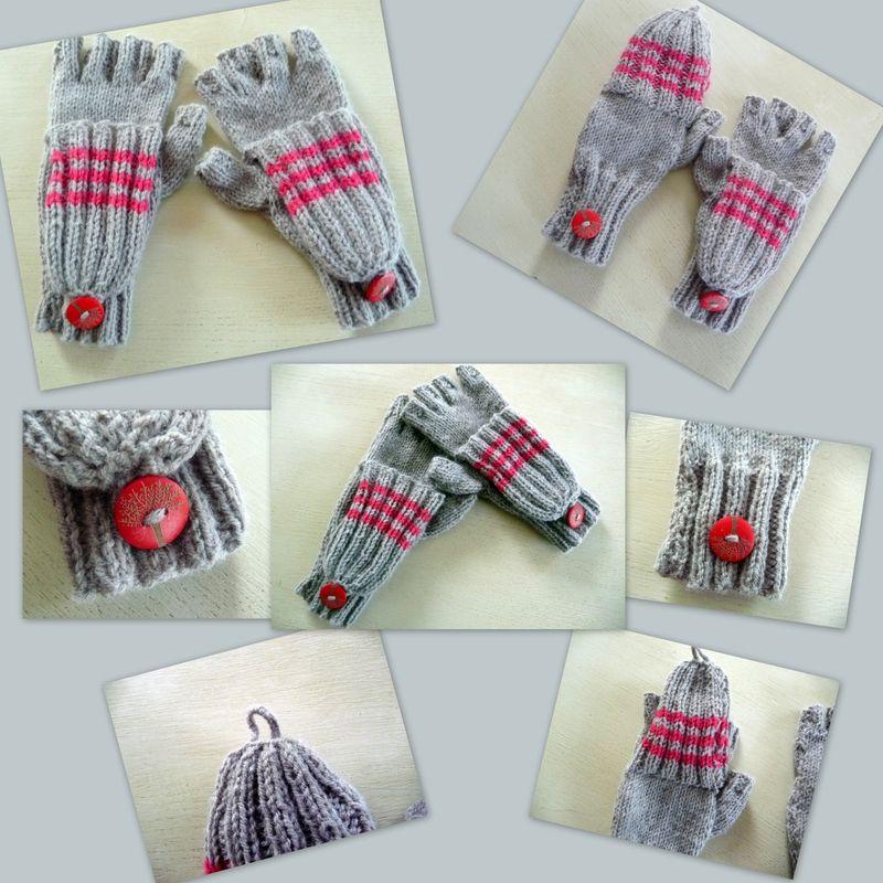 Des mitaines avec doigts et capuchon faciles tricoter - Tricoter des mitaines facile ...