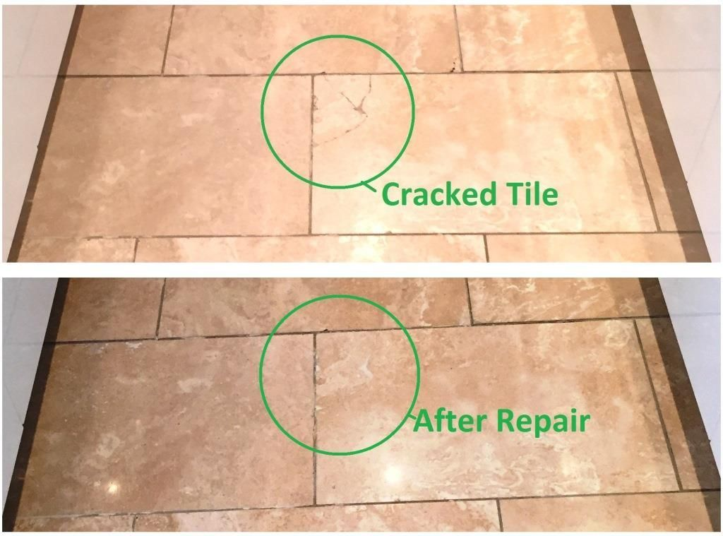 This Travertine Tiled Kitchen Floor Had Been Laid Around Five Years Previously In A House In Didsbury And Tile Repair Cracked Tile Repair Cleaning Tile Floors