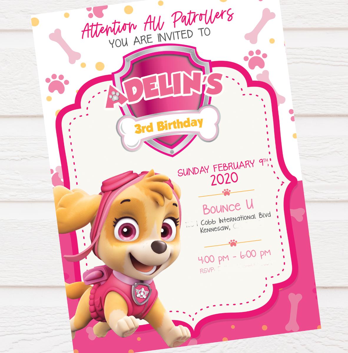 Invitacion Cumpleanos Skye De Paw Patrol Kids Birthday Cards Birthday Cards Baby Shower Invitations