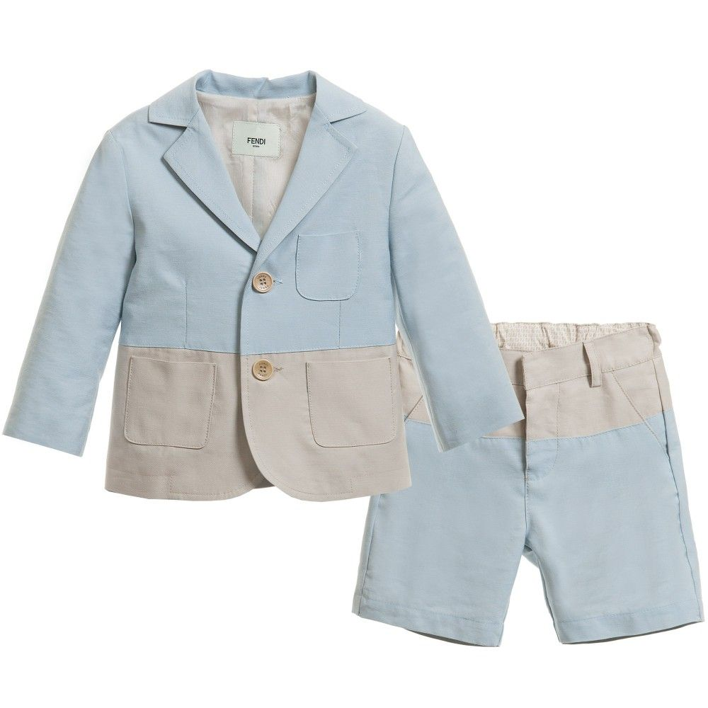 Fendi Boys Blue & Beige Cotton Shorts Suit (2 Piece) at ...