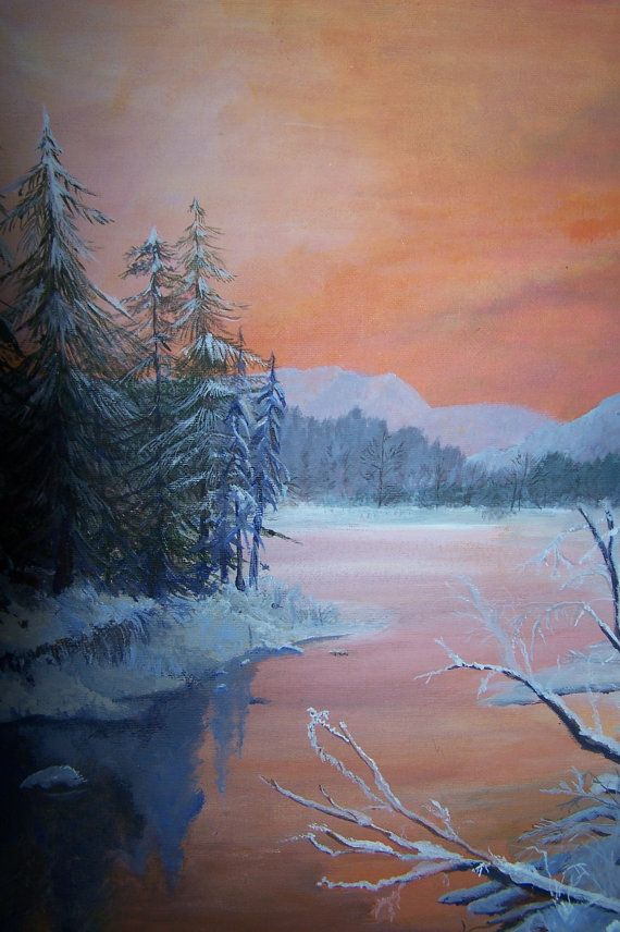 Winter Sunset Original Acrylic Painting Winter Painting Painting Landscape Art