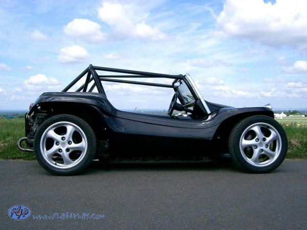 """Porsche wheels for a beach basher."" KB Manx. Perfect cage in black."