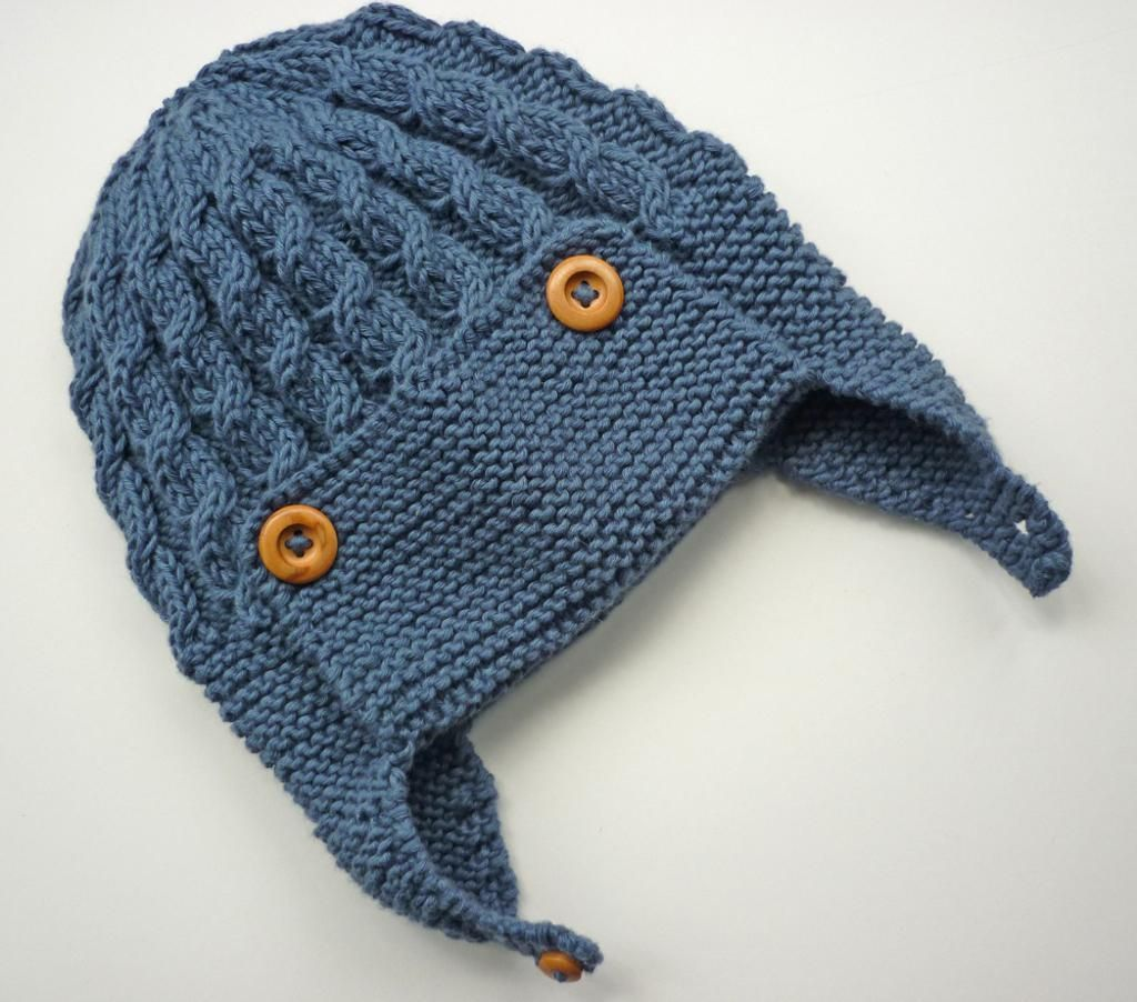 6) Name: \'Knitting : Cabled Baby Aviator Hat - Dayton | knitting ...