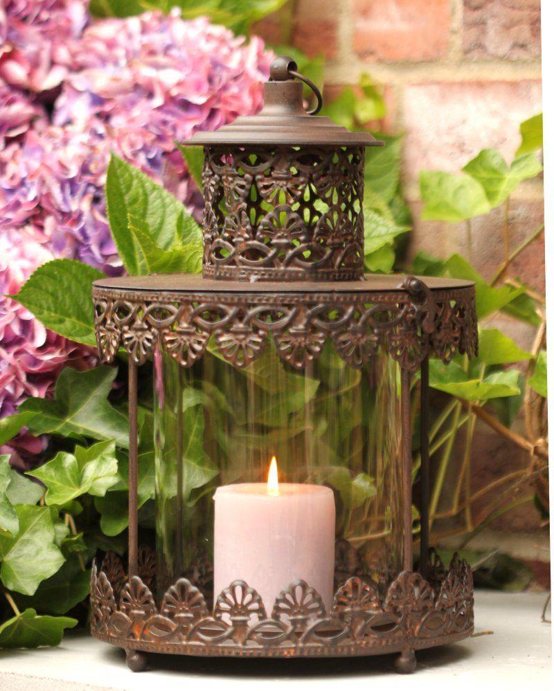Laterne Windlicht Metall Weiß Shabby Vintage Weihnachten: Laterne Antik Shabby Vintage Metall Gartenlaterne