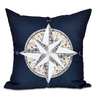 "Breakwater Bay Hancock Compass Geometric Print Outdoor Throw Pillow Size: 20"" H x 20"" W, Color: Navy Blue"