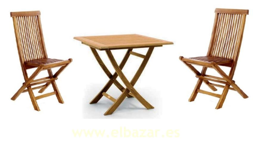 Conjunto mesa plegable y 2 sillas de teca ideas para el for Mesa plegable sillas incorporadas